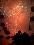 Feuerwerke über Wasser in Venedig Stockfotos