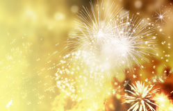 Feuerwerke am Abstand des neuen Jahres und der Kopie - abstraktes Feiertag backgrou Stockbilder