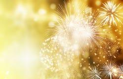 Feuerwerke am Abstand des neuen Jahres und der Kopie - abstraktes Feiertag backgrou Lizenzfreies Stockbild