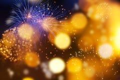 Feuerwerke am Abstand des neuen Jahres und der Kopie - abstraktes Feiertag backgrou Stockfoto