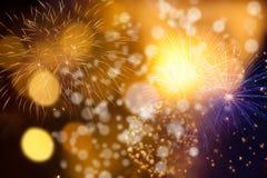 Feuerwerke am Abstand des neuen Jahres und der Kopie - abstraktes Feiertag backgrou Stockfotos