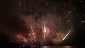 Feuerwerke auf dem Strand stock video footage