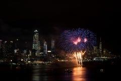 Feuerwerke auf Hudson River, New York City Stockbilder