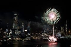 Feuerwerke auf Hudson River, New York City Lizenzfreies Stockfoto