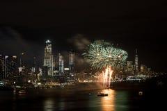 Feuerwerke auf Hudson River, New York City Stockfotografie