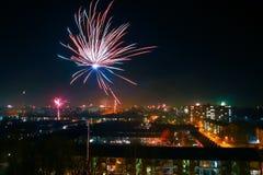 Feuerwerke auf Nacht des neuen Jahres Stockfoto
