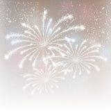 Feuerwerke auf silbernem Hintergrund Stockbilder