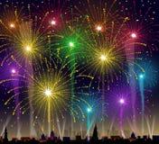 Feuerwerke auf Stadtbild - Vektor Lizenzfreie Stockbilder