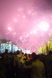 Feuerwerke auf Sylvesterabenden Stockbild