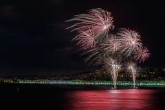 Feuerwerke auf Tagesfeiern am 14. Juli in Nizza Lizenzfreies Stockfoto