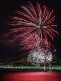 Feuerwerke auf Tagesfeiern am 14. Juli in Nizza Stockbilder