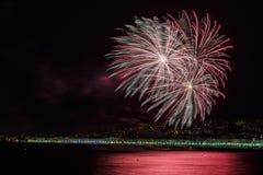 Feuerwerke auf Tagesfeiern am 14. Juli in Nizza Lizenzfreie Stockfotografie