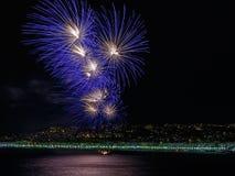 Feuerwerke auf Tagesfeiern am 14. Juli in Nizza Lizenzfreies Stockbild