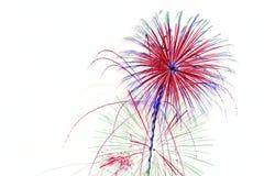 Feuerwerke auf weißem Hintergrund Stockfoto