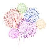 Feuerwerke auf weißer Hintergrundvektorillustration Lizenzfreie Stockfotos