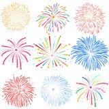 Feuerwerke auf weißer Hintergrundvektorillustration Lizenzfreies Stockbild