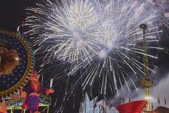 Feuerwerke bei der Eröffnung des Volkfestivals in St. poelten 2018 Lizenzfreies Stockbild