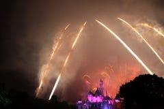 Feuerwerke bei Hong Kong Disneyland Stockbild