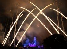 Feuerwerke bei Hong Kong Disneyland Stockfoto