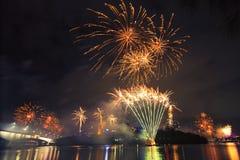 Feuerwerke in Brisbane - 2014 Lizenzfreies Stockfoto