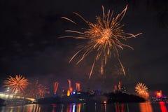 Feuerwerke in Brisbane - 2014 Lizenzfreies Stockbild