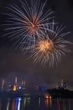 Feuerwerke in Brisbane - 2014 Lizenzfreie Stockfotos