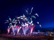 Feuerwerke am Calgary-Ansturm Stockfoto