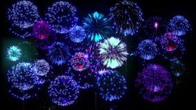 Feuerwerke der Mehrfachverbindungsstelle 4K Schöne bunte große firecrakers 3d Animation, verschiedene Versionen 19 stock video