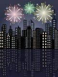 Feuerwerke in der Stadt Stockfoto