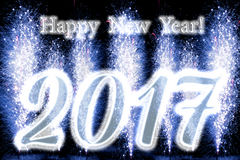 Feuerwerke des guten Rutsch ins Neue Jahr-2017 Stockfotos