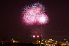 Feuerwerke des neuen Jahres Stockbild
