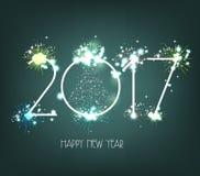 Feuerwerke 2017 des neuen Jahres Text-Design Lizenzfreie Stockfotos