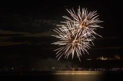Feuerwerke durch den See Lizenzfreies Stockfoto