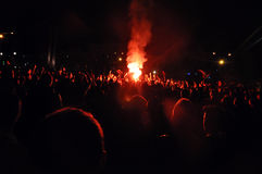 Feuerwerke an einem Stadion Lizenzfreies Stockfoto