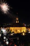 Feuerwerke am Ende der ungarischen kulturellen Tage von Klausenburg-Stadt Stockbilder
