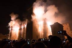 Feuerwerke für neues Year& x27; s Eve in Ferrara Stockbilder