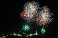 Feuerwerke gegen einen schwarzen Himmel Lizenzfreies Stockfoto