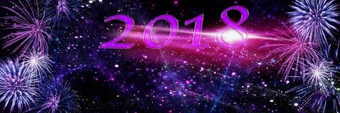 Feuerwerke, Hintergrund für neues Jahr 2018 Lizenzfreie Stockfotografie