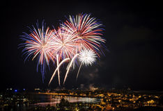 Feuerwerke in Honolulu 4. Juli Stockbild