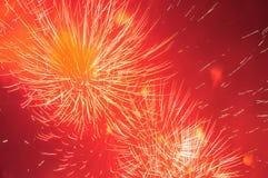 Feuerwerke im Abendhimmel Lizenzfreies Stockfoto