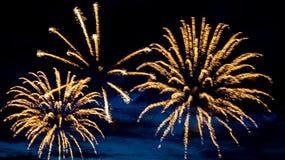 Feuerwerke im Sommer auf der Ufergegend im Feiertag Lizenzfreie Stockfotografie