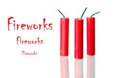 Feuerwerke mit Beispieltext Lizenzfreie Stockfotos