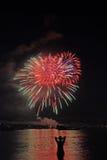 Feuerwerke mit Zeichen Lizenzfreie Stockfotos