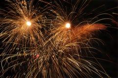 Feuerwerke nachts. Lizenzfreie Stockfotografie