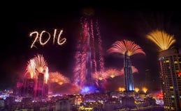 Feuerwerke 2016 neuen Jahres Dubais Lizenzfreies Stockfoto