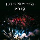 Feuerwerke, neues Jahr 2019 stockfotografie