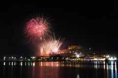 Feuerwerke in PeñÃscola Stockfoto