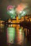 Feuerwerke in Prag stockfotos