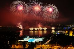 Feuerwerke in Putrajaya stockfoto