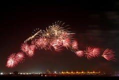 Feuerwerke am Stromkreis F1 Stockfotos